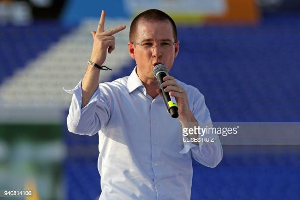 Mexico's presidential candidate Ricardo Anaya standing for the 'Mexico al Frente' Coalition of the PANPRD parties speaks to his supporters during his...