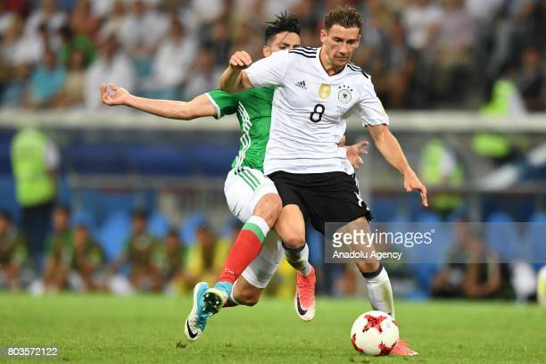 Mexico's Raul Jimenez and Germany's Leon Goretzka during match the FIFA Confederations Cup 2017 between Germany and Mexico in Sochi Russia on June 29...