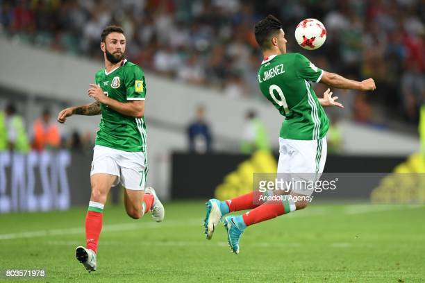 Mexico's Raul Jimenez and Miguel Layun during match the FIFA Confederations Cup 2017 between Germany and Mexico in Sochi Russia on June 29 2017