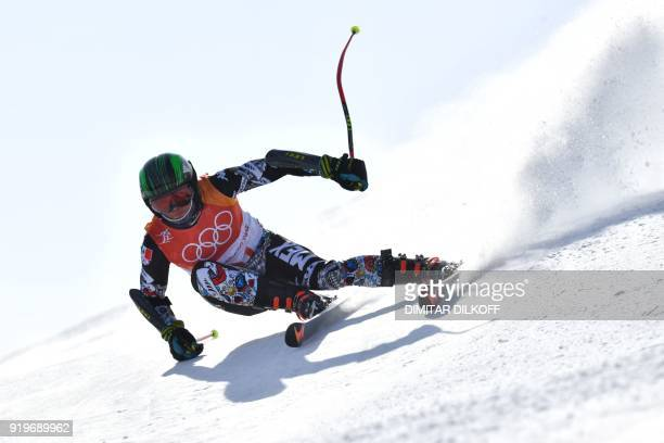 Mexico's Rodolfo Roberto Dickson Sommers competes in the Men's Giant Slalom at the Jeongseon Alpine Center during the Pyeongchang 2018 Winter Olympic...