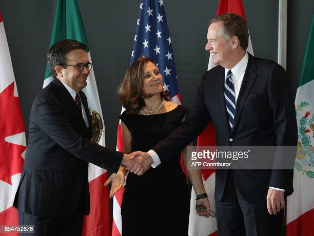 Mexico's Secretary of Economy Ildefonso Guajardo Villarreal Canada's Minister of Foreign Affairs Chrystia Freeland and United States Trade...