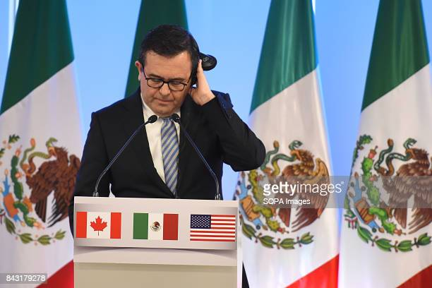 Mexico's Secretary of Economy Ildefonso Guajardo Villarreal speaks during the press conference of NAFTA Negotiations The NAFTA is an agreement signed...