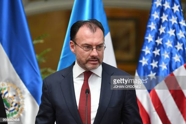 Mexico's Secretary of Foreign Affairs Luis Videgaray speaks during a joint press conference with US Homeland Security Secretary Kirstjen Nielsen and...