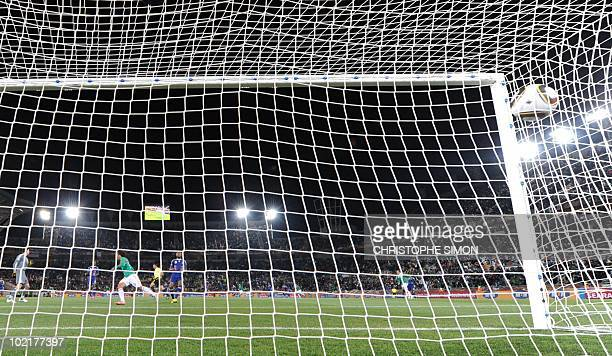 Mexico's striker Javier Hernandez celebrates after scoring the opening goal past France's goalkeeper Hugo Lloris during the Group A first round 2010...