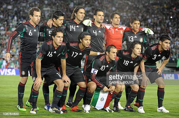 Mexico's team pose prior a friendly international football match against new Zealand at the Rose Bowl stadium in Pasadena California on March 3 2010...