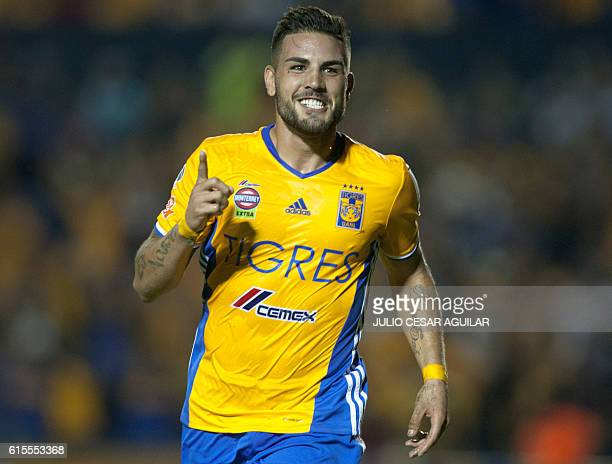 Mexico's Tigres player Andy Delort celebrates his goal against Costa Rica's Herediano during the CONCACAF Champions League football match at the...