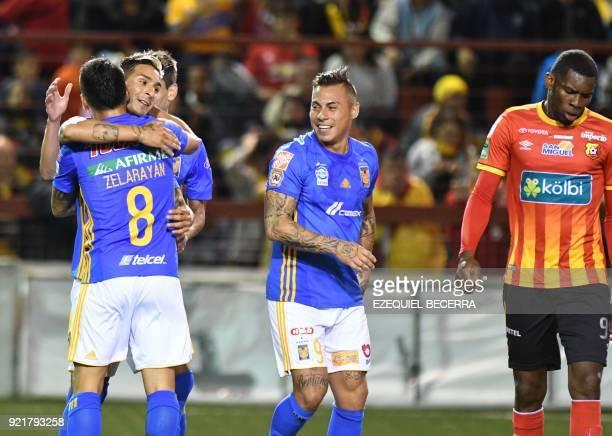 Mexicos Tigres player Lucas Zelarayan celebrates with teammates Ismael Sosa Eduardo Vargas and Omar Arellano after scoring against Costa Rican...