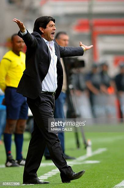 Mexico��s Toluca coach Jose Cardozo gestures during their Copa Libertadores 2016 round before the quarterfinals second leg football match against...