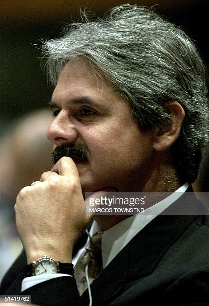 Mexico's Transport Minister Fernando Antillon listens to questions at the International Civil Aviation Organization ministers meeting 19 February...