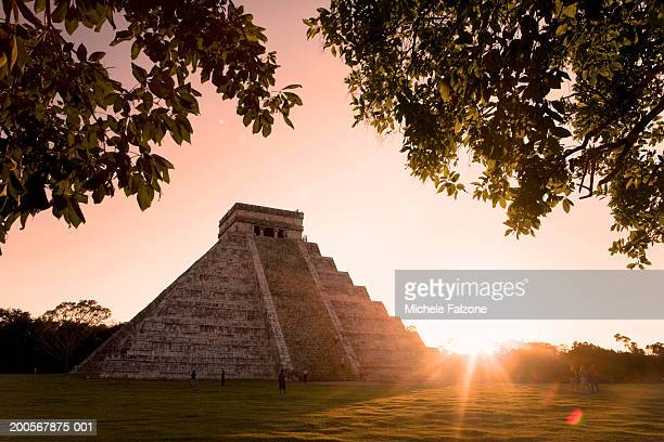 Mexico,Yucatan,Chichen Itza,El Castillo (Pyramid of Kuculcan),sunset