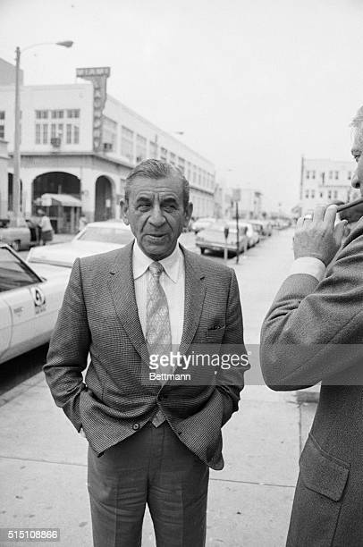 Meyer Lansky stands outside the courthouse 2/27 after the second day of his trial on charges of contempt. Lansky testified today, telling the jury he...