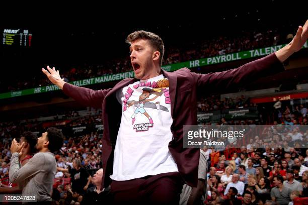 Meyers Leonard of the Miami Heat celebrates during the game against the Orlando Magic on March 4 2020 at American Airlines Arena in Miami Florida...