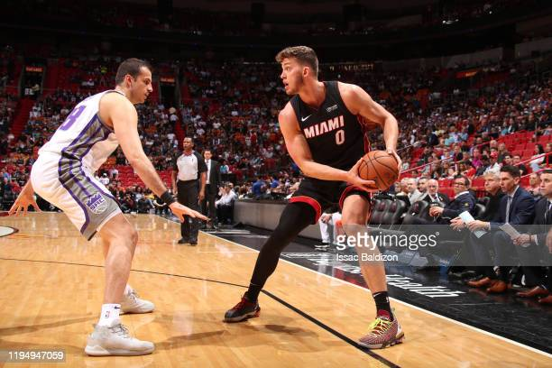 Meyers Leonard of the Miami Heat handles the ball against the Sacramento Kings on January 20 2020 at American Airlines Arena in Miami Florida NOTE TO...