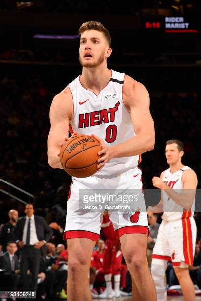 Meyers Leonard of the Miami Heat shoots the ball against the New York Knicks on January 12 2020 at Madison Square Garden in New York City New York...