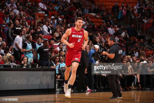 Meyers Leonard of the Miami Heat smiles during a game against the Portland Trail Blazers on January 5 2020 at American Airlines Arena in Miami...