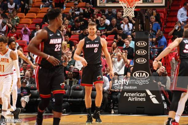 Meyers Leonard of the Miami Heat smiles during the game against the Atlanta Hawks on December 10 2019 at American Airlines Arena in Miami Florida...