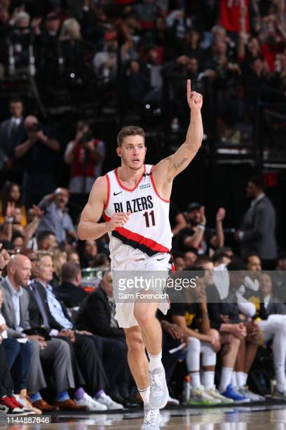 Meyers Leonard of the Portland Trail Blazers celebrates after the shot against the Golden State Warriors during Game Three of the Western Conference...