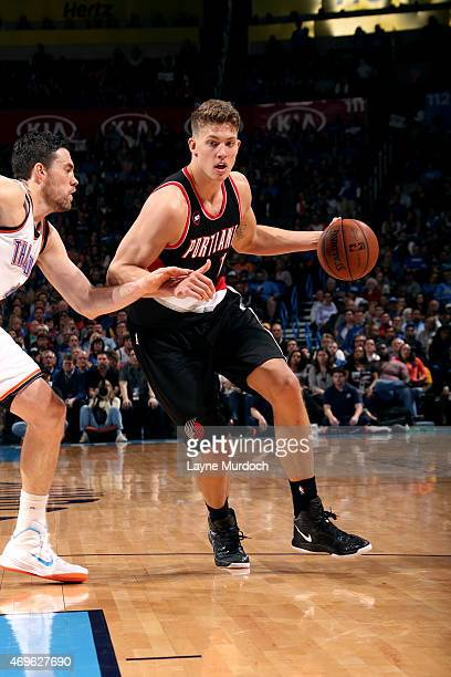Meyers Leonard of the Portland Trail Blazers drives against the Oklahoma City Thunder on April 13 2015 at Chesapeake Energy Arena in Oklahoma City...