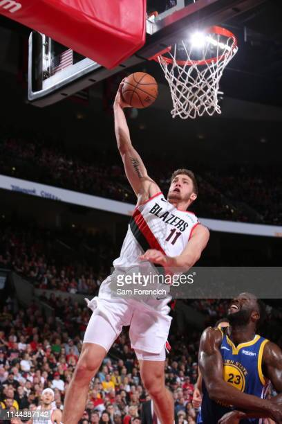 Meyers Leonard of the Portland Trail Blazers dunks the ball during the game against the Golden State Warriors during Game Three of the Western...
