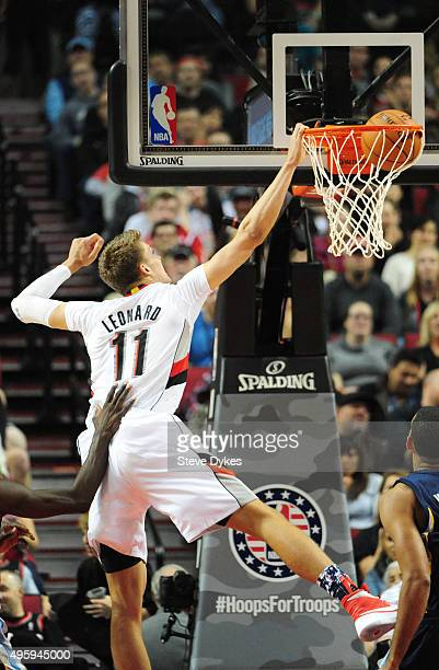 Meyers Leonard of the Portland Trail Blazers dunks the ball during the second quarter of the game against the Memphis Grizzlies at Moda Center on...