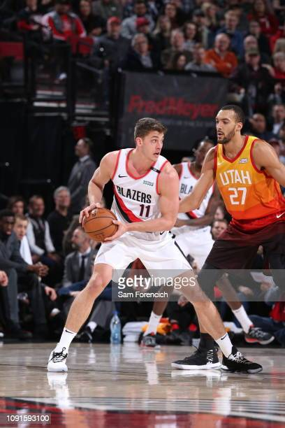 Meyers Leonard of the Portland Trail Blazers handles the ball against the Utah Jazz on January 30 2018 at the Moda Center in Portland Oregon NOTE TO...