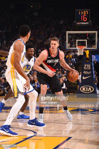 Meyers Leonard of the Portland Trail Blazers handles the ball against the Golden State Warriors on December 11 2017 at ORACLE Arena in Oakland...