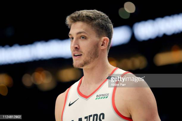 Meyers Leonard of the Portland Trail Blazers reacts against the Cleveland Cavaliers in the second half during their game at Moda Center on January 16...