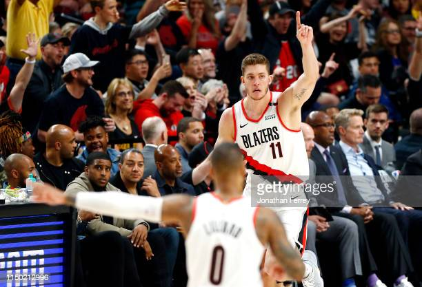 Meyers Leonard of the Portland Trail Blazers reacts against the Golden State Warriors in game three of the NBA Western Conference Finals at Moda...