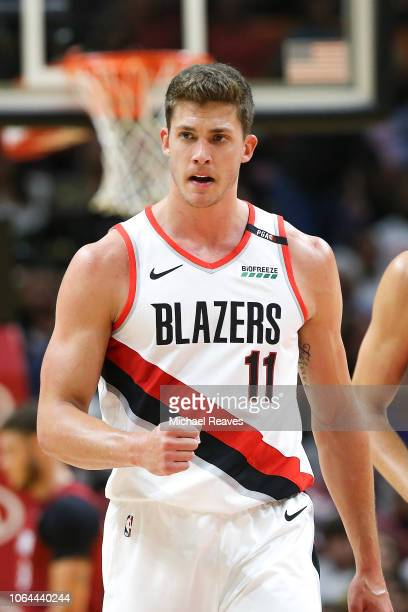 Meyers Leonard of the Portland Trail Blazers reacts against the Miami Heat at American Airlines Arena on October 27 2018 in Miami Florida NOTE TO...
