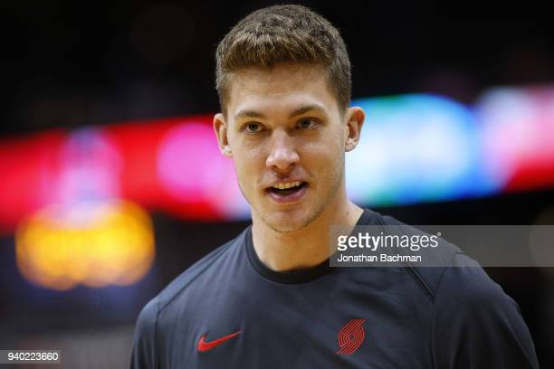 Meyers Leonard of the Portland Trail Blazers reacts before a game against the New Orleans Pelicans at the Smoothie King Center on March 27 2018 in...