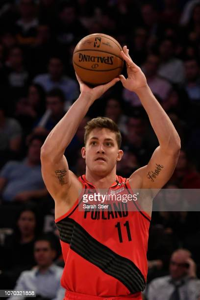Meyers Leonard of the Portland Trail Blazers shoots a basket during the third quarter of the game against New York Knicks at Madison Square Garden on...