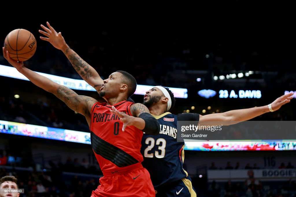 Meyers Leonard #11 of the Portland Trail Blazers shoots over Anthony Davis #23 of the New Orleans Pelicans during the first half at the Smoothie King Center on January 12, 2018 in New Orleans, Louisiana.