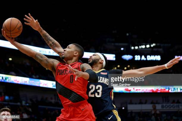 Meyers Leonard of the Portland Trail Blazers shoots over Anthony Davis of the New Orleans Pelicans during the first half at the Smoothie King Center...