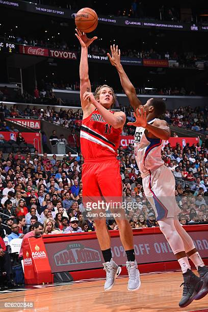 Meyers Leonard of the Portland Trail Blazers shoots the ball against the LA Clippers on November 09 2016 at STAPLES Center in Los Angeles California...