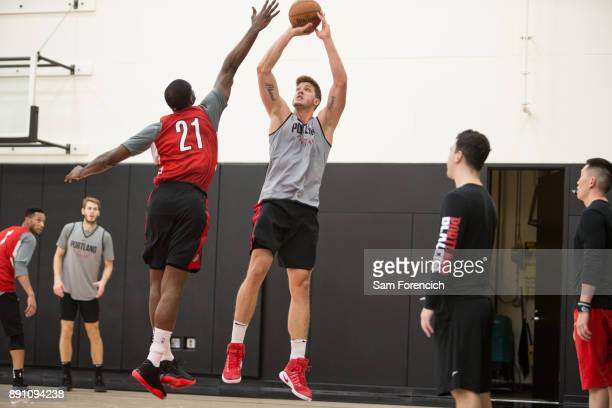 Meyers Leonard of the Portland Trail Blazers shoots the ball during an all access practice on December 7 2017 at the Trail Blazer Practice Facility...