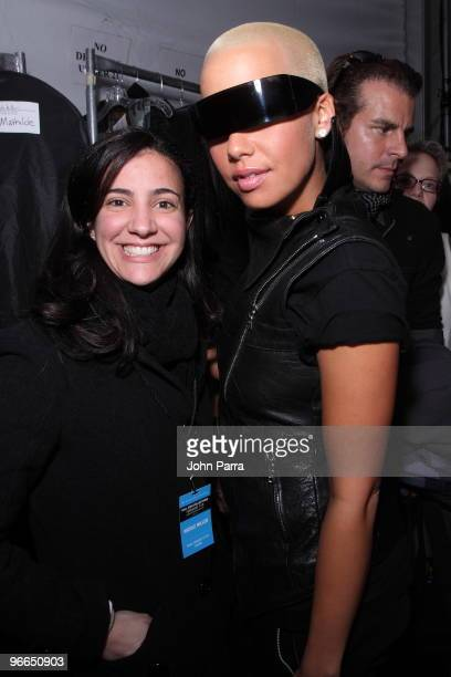 Meyling and Amber Rose attend Nicole Miller Fall 2010 during MercedesBenz Fashion Week at Bryant Park on February 12 2010 in New York City