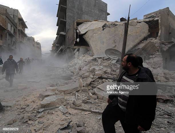Meyser district of Aleppo barrel bombattacked by Syrian air forces on February 2 Syria