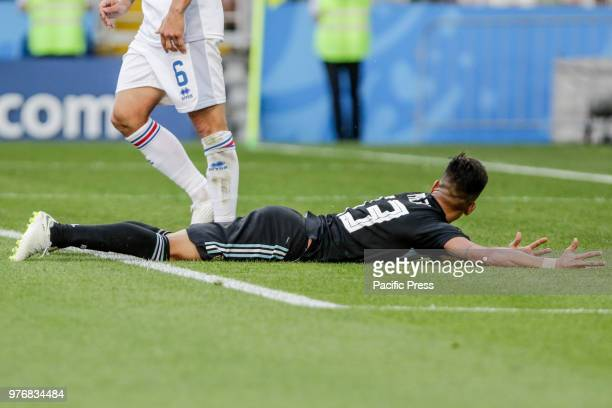 Meza suffers a penalty during a match between Argentina and Iceland valid for the first round of Group D of the 2018 World Cup held at the Spartak...