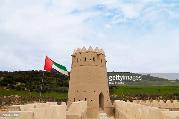 mezaira fort and uae flag; liwa oasis, abu dhabi, united arab emirates - united arab emirates flag stock photos and pictures