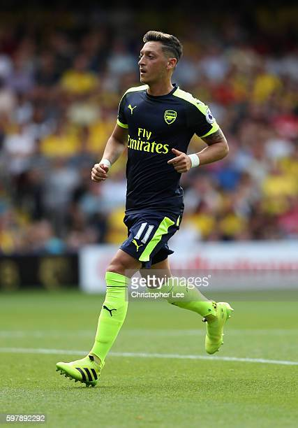 Mezut Ozil of Arsenal in action during the Premier League match between Watford and Arsenal at Vicarage Road on August 27 2016 in Watford England