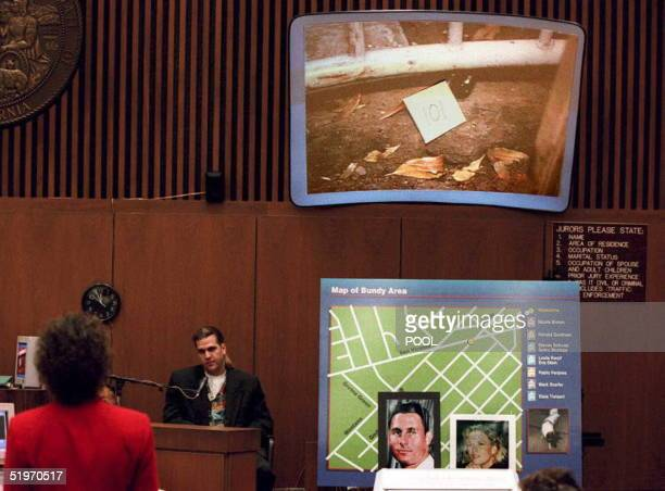 Mezzaluna Restaurant bartender Stewart Tanner is questioned by prosecutor Marcia Clark as pictures of murder victims Ronald Goldman and Nicole...
