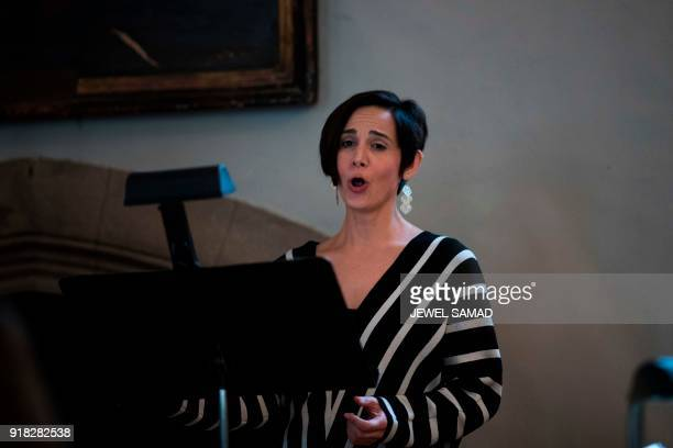 US mezzosoprano signer Kelley OConnor rehearses for Voy a Dormir with the Orchestra of St Lukes at Columbia University in New York on February 14...