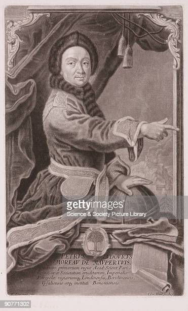 Mezzotint engraving by I I Haid of Augsburg Germany after R Tourmere showing threequarter length portrait of Maupertuis pointing with his right hand...
