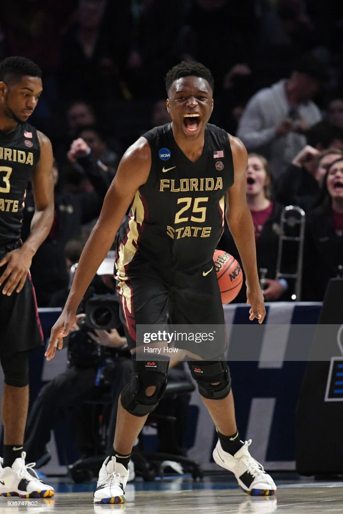 Mfiondu Kabengele #25 of the Florida State Seminoles celebrates late in the game against the Gonzaga Bulldogs during the second half in the 2018 NCAA Men's Basketball Tournament West Regional at Staples Center on March 22, 2018 in Los Angeles, California. The Florida State Seminoles defeated the Gonzaga Bulldogs 75-60.