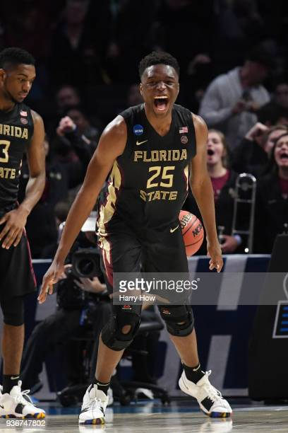 Mfiondu Kabengele of the Florida State Seminoles celebrates late in the game against the Gonzaga Bulldogs during the second half in the 2018 NCAA...