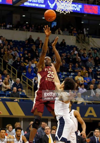 Mfiondu Kabengele of the Florida State Seminoles pulls up for a three against the Pittsburgh Panthers at Petersen Events Center on January 14 2019 in...