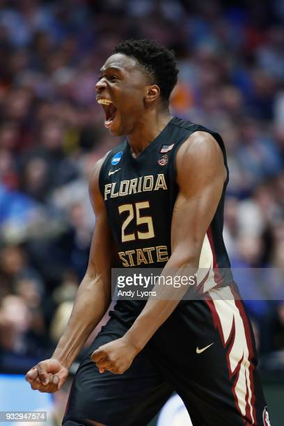 Mfiondu Kabengele of the Florida State Seminoles reacts against the Missouri Tigers during the game in the first round of the 2018 NCAA Men's...