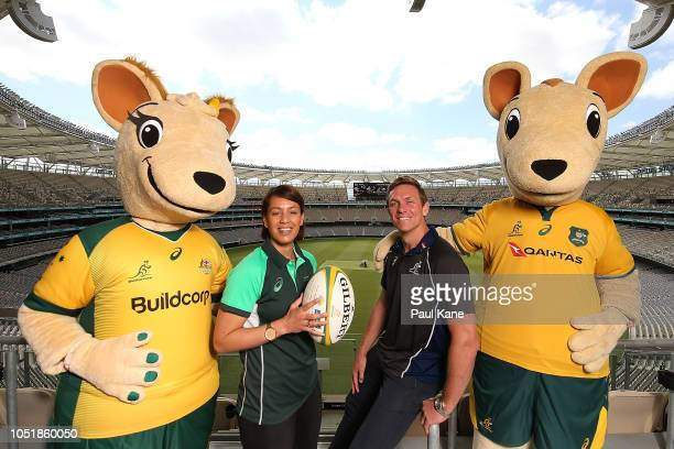 Mhicca Carter of the Wallaroos and Dane HaylettPetty of the Wallabies pose following a press conference at Optus Stadium on October 11 2018 in Perth...
