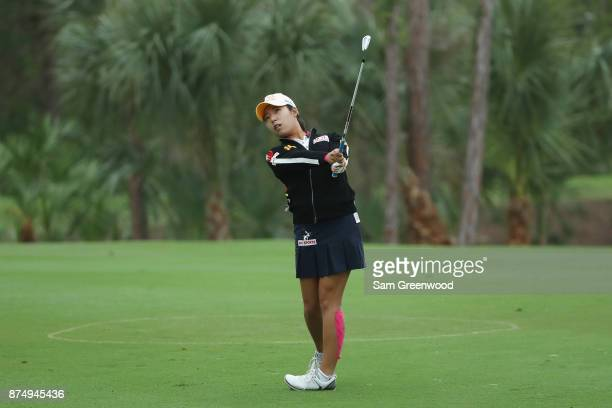 Mi Hyang Lee of Korea plays a shot on the second hole during round one of the CME Group Tour Championship at the Tiburon Golf Club on November 16...