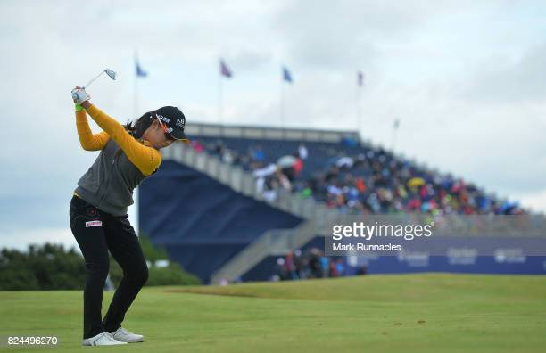 Mi Hyang Lee of Korea winner of the Aberdeen Asset Management Ladies Scottish Open plays her second shot at the 18th hole as she finishes her final...